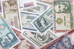 International money paper. A collection of various currencies from countries stock image