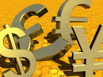INTERNATIONAL BUSINESS TRADE BANKING CURRENCIES GOLD FOREIGN CURRENCY CONCEPT. Close-up of four international money symbols and signs dollar, yen, pound, euro on Stock Image