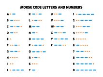 International Morse Code alphabet with numbers Stock Photos