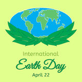 International Mother Earth Day theme. Globe and green leaves as a symbol of environmental and climate literacy. You can add your o Stock Image