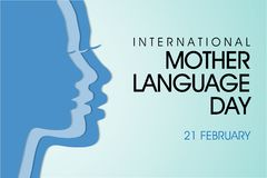 International mother language day background stock illustration