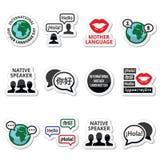 International Mother Language Day icons set royalty free illustration