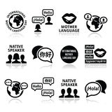 International Mother Language Day icons set Stock Images