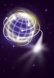 International movements. World with international exportation as shooting stars Stock Photo