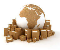 International moving with cardboard texture Royalty Free Stock Photography