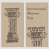 International Museum Day. Beige background. Flyers for event participants. stock illustration