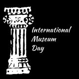 International Museum Day. Ancient Roman Column. Black background royalty free illustration