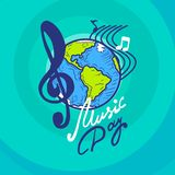 International music day concept background, hand drawn style stock illustration