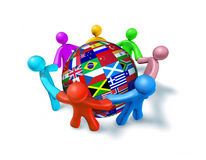 International network of world cooperation. Represented by a shere globe with flags from around the world and human characters of different colors connected in Royalty Free Stock Photography