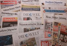 International newspaper. German newspapers stock photos