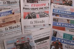 International newspaper. French newspapers Stock Photo