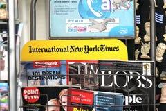 International newspapers kiosk Stock Photos