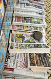 International newspapers. Very high resolution, 42.2 megapixels. Newspaper stand in Lisbon, Portugal. Outside a newspaper and magazines kiosk with international royalty free stock image