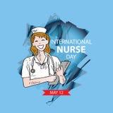 International nurse day greeting card. Blue background vector illustration