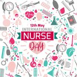 International nurse day. Image. Vector illustration in pink, green and grey colors isolated on a white background. Medical and healthcare concept stock illustration