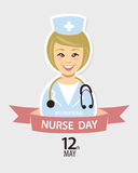 International nurse day. May 12th. Vector flat card Royalty Free Stock Images