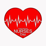 International nurses day illustration with red heart and heartbeat. Card or design for doctors, nurses and medicine. Stock Photos
