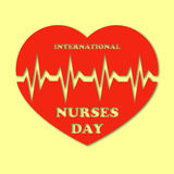 International nurses day illustration with red heart and heartbeat on yellow background. Card or design for doctors Royalty Free Stock Photos