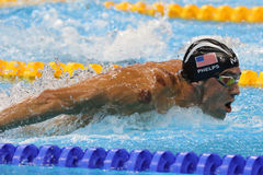 Olympic champion Michael Phelps of United States competes at the Men`s 200m butterfly at Rio 2016 Olympic Games. RIO DE JANEIRO, BRAZIL - AUGUST 8, 2016: Olympic royalty free stock photo