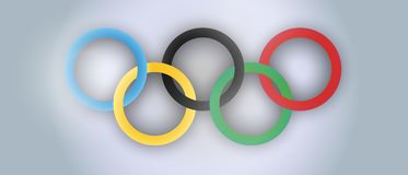 International Olympic Day vector realistic illustration. Holiday. Sports rings poster design royalty free illustration