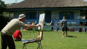 International painting camp in the Danube Delta stock video