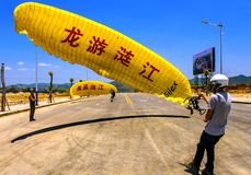 International Paramotor air show. 2013 LONGYOU ripple river, a series of activities on June 12 (the fifth lunar month) in Huishui County Lian Jiang River carried Royalty Free Stock Photography