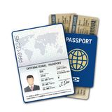 International passport and airline boarding pass ticket. Male passport template with biometric data identification and photo. International passport and airline vector illustration