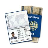 International passport and airline boarding pass ticket. Passport template of the black man with biometric data identification. Sample of photo, signature and vector illustration