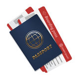 International passport with a blue cover and two air tickets. Realistic isolated illustration. stock illustration