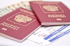 International passport, cash and tickets to plane Stock Photography