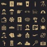International passport icons set, simple style royalty free illustration