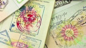 International passports with visas Royalty Free Stock Photo