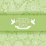 International Peace Day background with ornate birds and flowers Royalty Free Stock Image