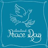International Peace Day card. Hand written lettering with dove and olive branch. Vector illustration. royalty free illustration