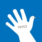 International peace day with hand making the form of dove and asking for peace Stock Photos