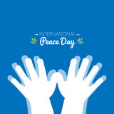 International peace day with hands making the shape of a dove Royalty Free Stock Photos