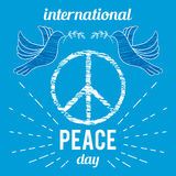International Peace Day. Poster with peace symbol and dove. Stock Photography