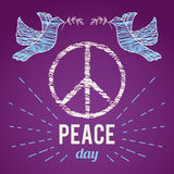 International Peace Day. Poster with peace symbol and dove. Royalty Free Stock Photo