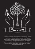 International Peace Day Poster 21 September 2017. International peace day poster on 21 September 2017 vector. Hand nonverbal sign with two fingers meaning Stock Photos
