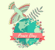 International Peace Day. 21 september. Peace dove with olive branch over the planet overgrown flowers. Hand drawn Royalty Free Stock Images