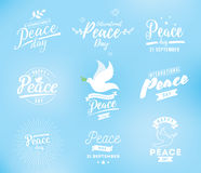 International peace day vector emblem Stock Photos