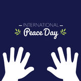 International peace day with white hands asking for peace. Vector illustration Royalty Free Stock Images