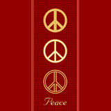 International Peace Symbols. International symbols for Peace, in three gold styles on a textured red background stock illustration