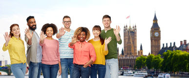 International people waving hand in london Royalty Free Stock Images
