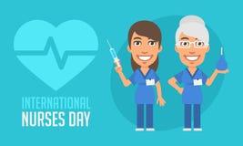International pflegt eine-Tag-alt und Junge-Krankenschwester stock abbildung
