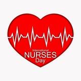 International pflegt Tagesillustration mit rotem Herzen und Herzschlag Kardieren Sie oder entwerfen Sie für Doktoren, Krankenschw vektor abbildung