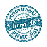 International picnic day. Blue grunge rubber stamp with the text June eighteen International picnic day Royalty Free Stock Photos