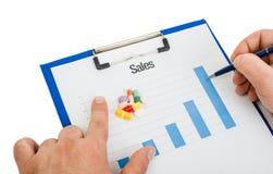 International pill sales chart Royalty Free Stock Photo