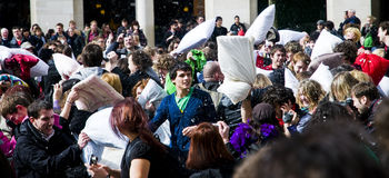 International pillow fight day Stock Photo