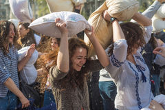 International Pillow Fight Day 2016 royalty free stock photography